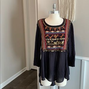 Anthropologie beaded tunic top
